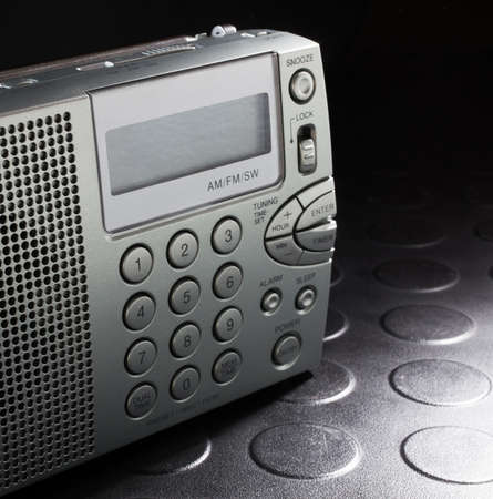 shortwave: Portable radio that can tune into broadcast frequencies and shortwave Stock Photo