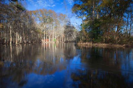 現在のノースカロライナ州の製材川の水をゆっくりと移動 写真素材