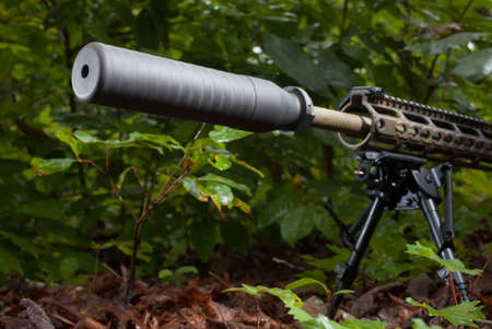 the silencer: Assault rifle with a silencer in some dense foliage