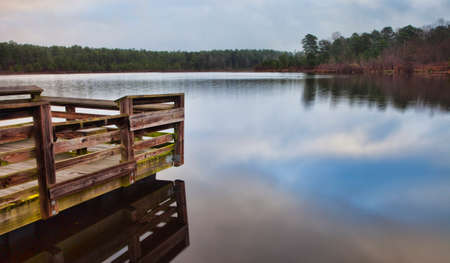 fishing pier: Handicapped fishing pier at Upchurch Lake in North Carolina