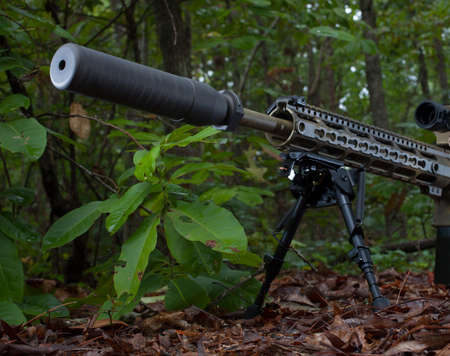 the silencer: Camouflaged rifle in a forest with a silencer attached