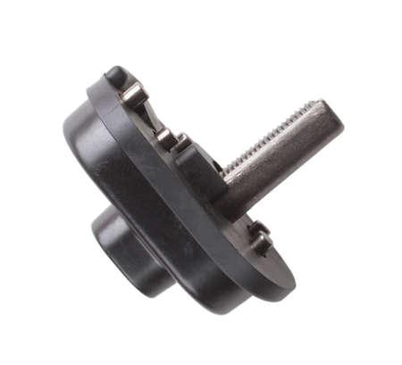 gatillo: La mitad de un mecanismo utilizado para bloquear un gatillo de la pistola aislado en blanco Foto de archivo