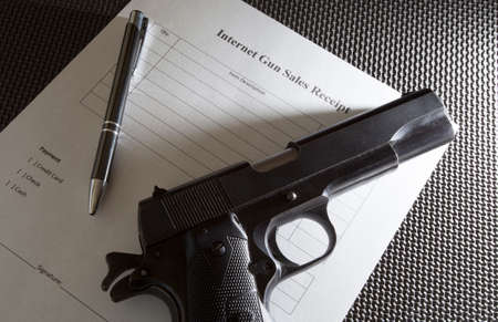 semi automatic: Semi automatic handgun and blank receipt for sale over the Internet