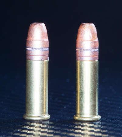 twenty two: Two rimfire cartridges that are designed for twenty two guns Stock Photo