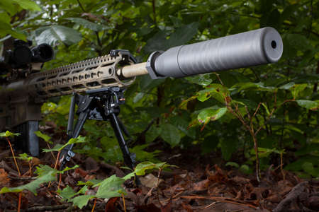 suppressor: Suppressor on a modern sporting rifle in the forest