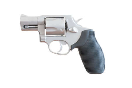 nosed: Revolver with a snub nosed barrel on a white background