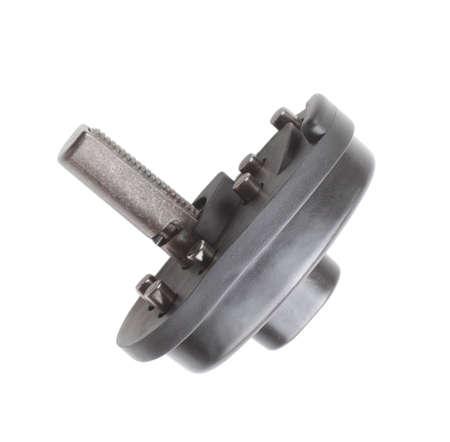 gatillo: Bloqueo lateral de un mecanismo de bloqueo de disparo aislado en blanco Foto de archivo
