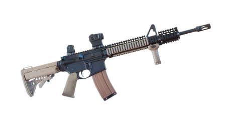 semi automatic: Semi automatic rifle with tan stocks isolated on white Stock Photo