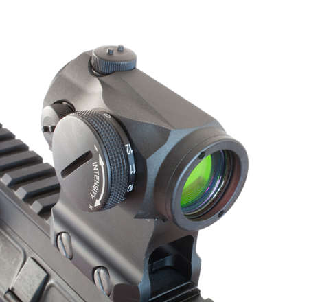 Electronic dot sight mounted on the rail of a modern sporting rifle