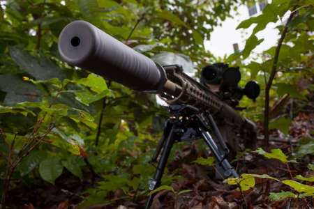 suppressor: Modern sporting rifle that has a suppressor attached
