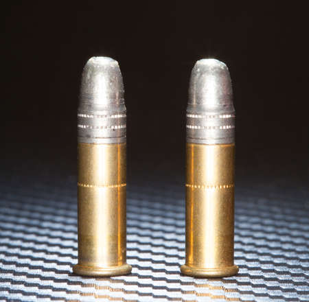 twenty two: Lead bullets atop rimfire cartridges for twenty two caliber guns
