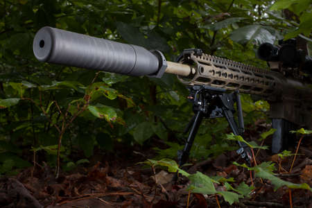 suppressor: Suppressor on a riflie that is in a dark forest