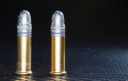 twenty two: Twenty two long rifle ammunition with bullets that are corroding