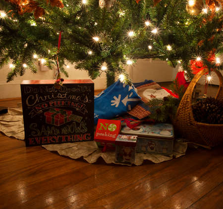modest: Modest number of gifts under a Christmas tree