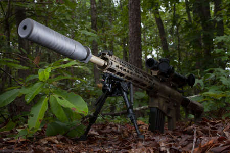 suppressor: Modern sporting rifle with a suppressor in a forest Stock Photo