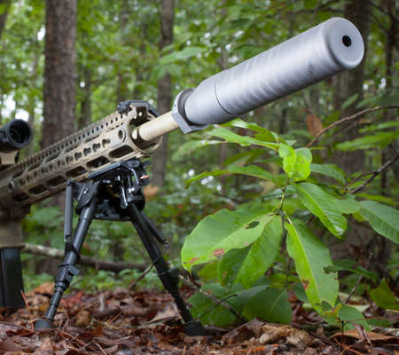 suppressor: Suppressor on a modern sporting rifle that is in the trees