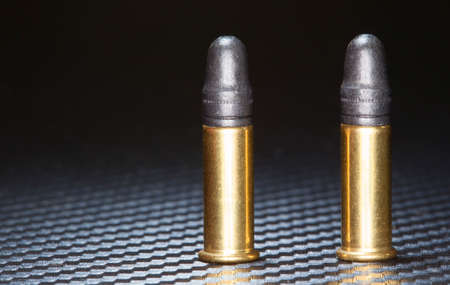 twenty two: Two rim fire cartridges for a twenty two caliber firearm Stock Photo