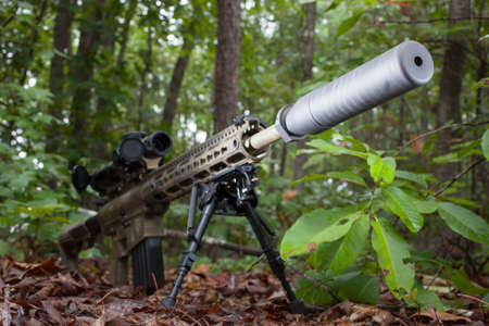 suppressor: Semi automatic rifle with camouflage and a suppressor on the end
