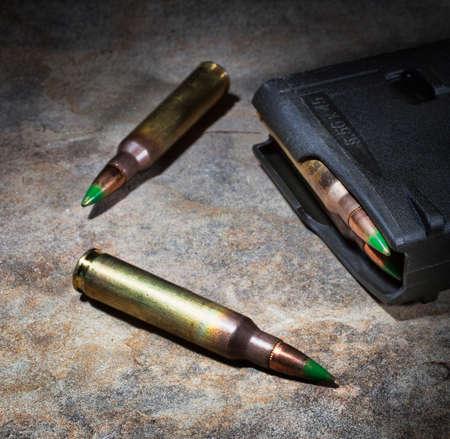 ammunition: Polymer magazine for rifle cartridges and ammunition Stock Photo