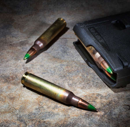 Polymer magazine for rifle cartridges and ammunition Stock Photo