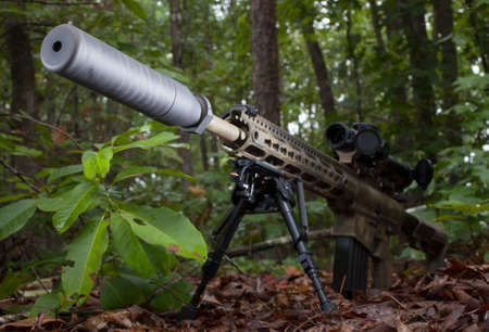 the silencer: Silencer on a firearm that is in a forest