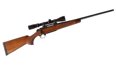 high powered: Wood stocked bolt action rifle with a high powered scope