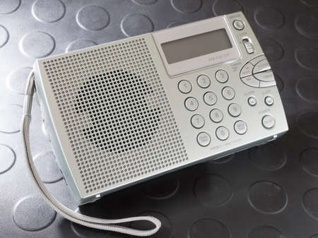 shortwave: Battery powered portable radio that covers shortwave and broadcast bands Stock Photo