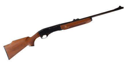 semi automatic: Rifle that is semi automatic with a wood stock isolated on white Stock Photo