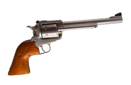 forty: Stainless steel revolver chambered for forty four magnum on white