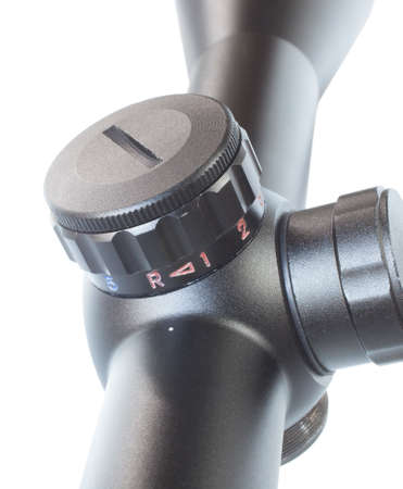 Knob that is used to adjust brightness and color on a rifle scope Banco de Imagens