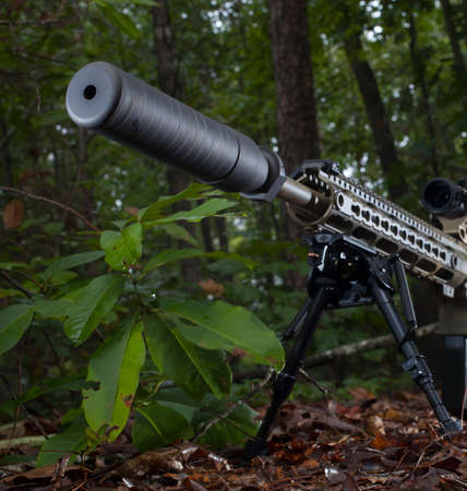 the silencer: Silencer at the end of a sniper rifle in a forest