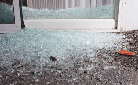 invader: Sliding glass door that has been shattered by a home invader