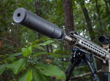 the silencer: Silencer mounted on a modern sporting rifle in the trees Stock Photo