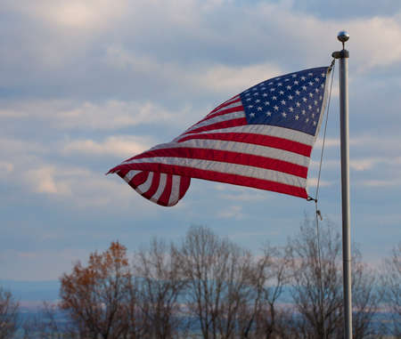 old glory: American flag flying atop the Blue Ridge overlooking the Shenandoah Valley