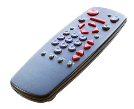 Black remote control for a television set isolated on white