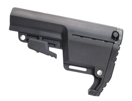 Polymer stock that can be adjusted in length for an AR-15 rifle Reklamní fotografie