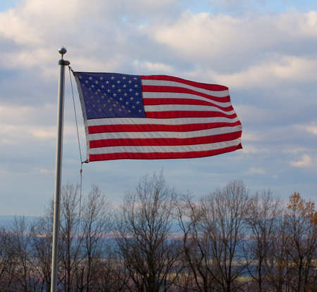 blue ridge: The stars and stripes flying on the Blue Ridge of Virginia over the Shenandoah Valley