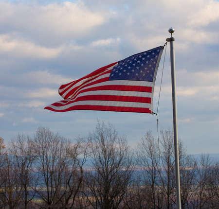 blue ridge: United States flag flying on the Blue Ridge over the Shenandoah Valley