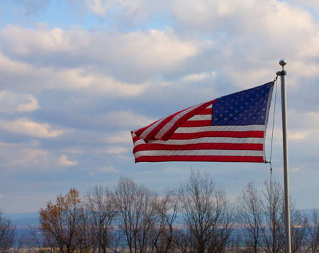 blue ridge: American flag in a breeze on the Blue Ridge over the Shenandoah Valley