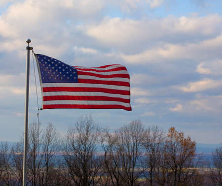 blue ridge: American flag waving in a breeze on the Blue Ridge over the Shenandoah Valley
