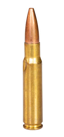 bent: Center fire cartridge that has been bent upon feeding isolated on white
