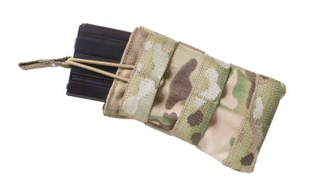 Metal AR-15 magazine in a pouch isolated on white Reklamní fotografie