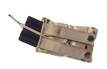Camouflage AR-15 magazine pouch and magazine isolated on white