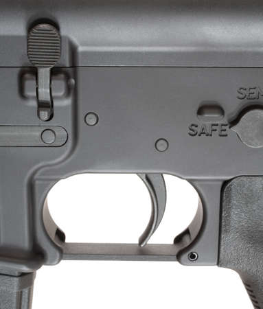 trigger: Magazine release and safety and trigger on an Ar-15