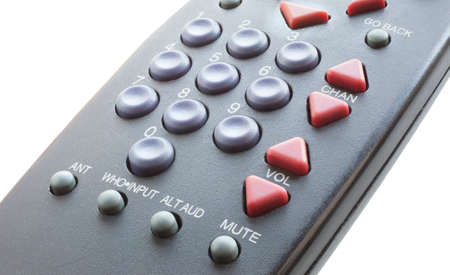 Remote control for a television that is isolated on a white background Stock Photo