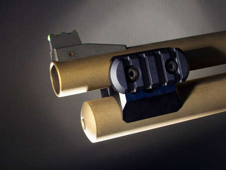 Rail attached to a shotgun designed to mount a flashlight