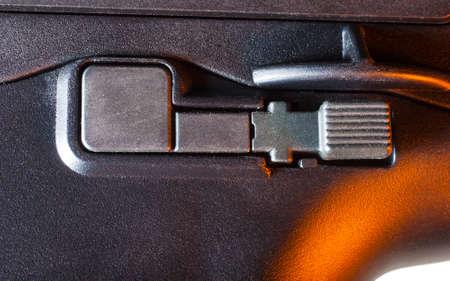 Magazine release on a polymer framed assault rifle