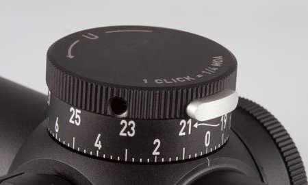 Knob used to adjust elevation on a rifle scope