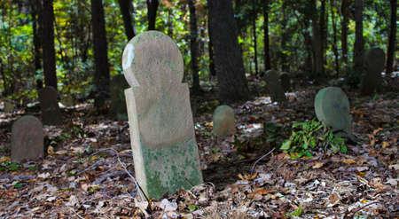 ムーア郡の古いスコットランドの墓地のマーカー 写真素材