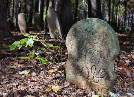 ノース ・ カロライナ州にある古いスコットランドの墓地内にあるマーカー